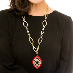 Glitter Rising Pendant with Textured Metal Link Chain - Gold/Red
