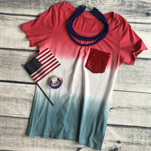 Sequin Pocket Tee with Red or Blue Pocket/ ONLY XS LEFT