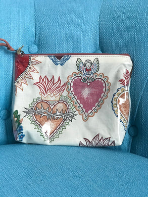 Accessories Pouch - Heart/Cow Print
