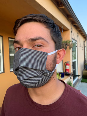 (Large) - Fits most men - Fabric Hand Sewn Masks with Filter Pocket
