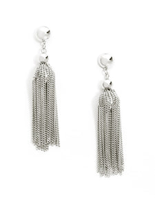 Linked Up Tassel Earrings in Silver