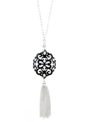 Modern Damask Pendant with Tassel in Black/Silver
