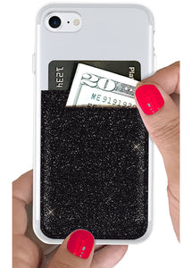 Phone Pocket in Black Glitter