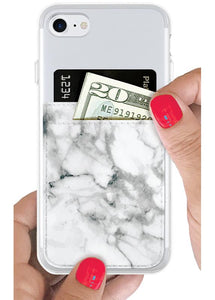 Phone Pocket in White Marble Faux Leather