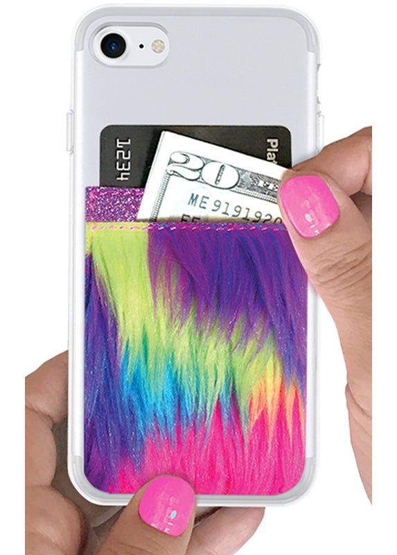 Phone Pocket in Unicorn Faux Fur
