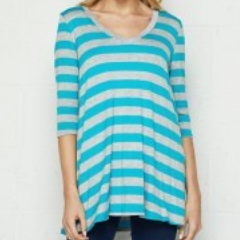 Turquoise/Grey Striped V-Neck 3/4 Sleeve Top/ ONLY L LEFT