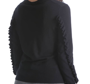 V-Neck Pull Over Sweater with Ruffle - by Kut from the Kloth/ M & XL STILL AVAILABLE
