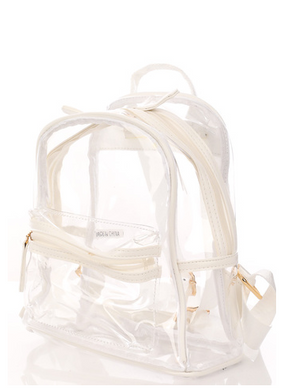 Clear Stadium Small Backpack in White