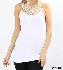 Triple Criss Cross Cami in Various Colors/ ONLY SMALL LEFT IN BLACK, GREY AND WHITE