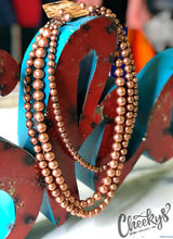 Copper 3 Strand Beaded Necklace & Earring Set