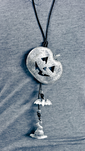 Jack-O-Lantern Necklace with Bat and Witches Hat