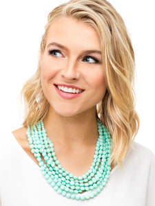 Multi-Strand Matte Beaded Necklace in Mint