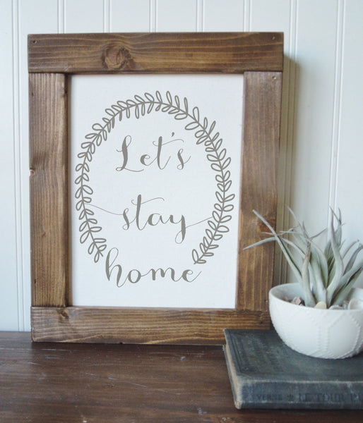 Lets stay home/wall art/canvas print/laurel wreath/canvas wall art/wall decor