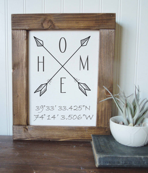 Coordinates sign/home/arrows/canvas print/framed art/picture frame/tabletop sign/home decor/wall art