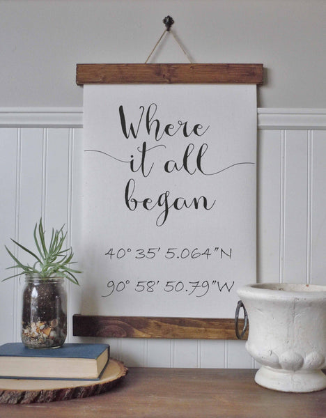 Coordinates sign/where it all began/calligraphy sign/canvas print/framed art/wall art/wood sign