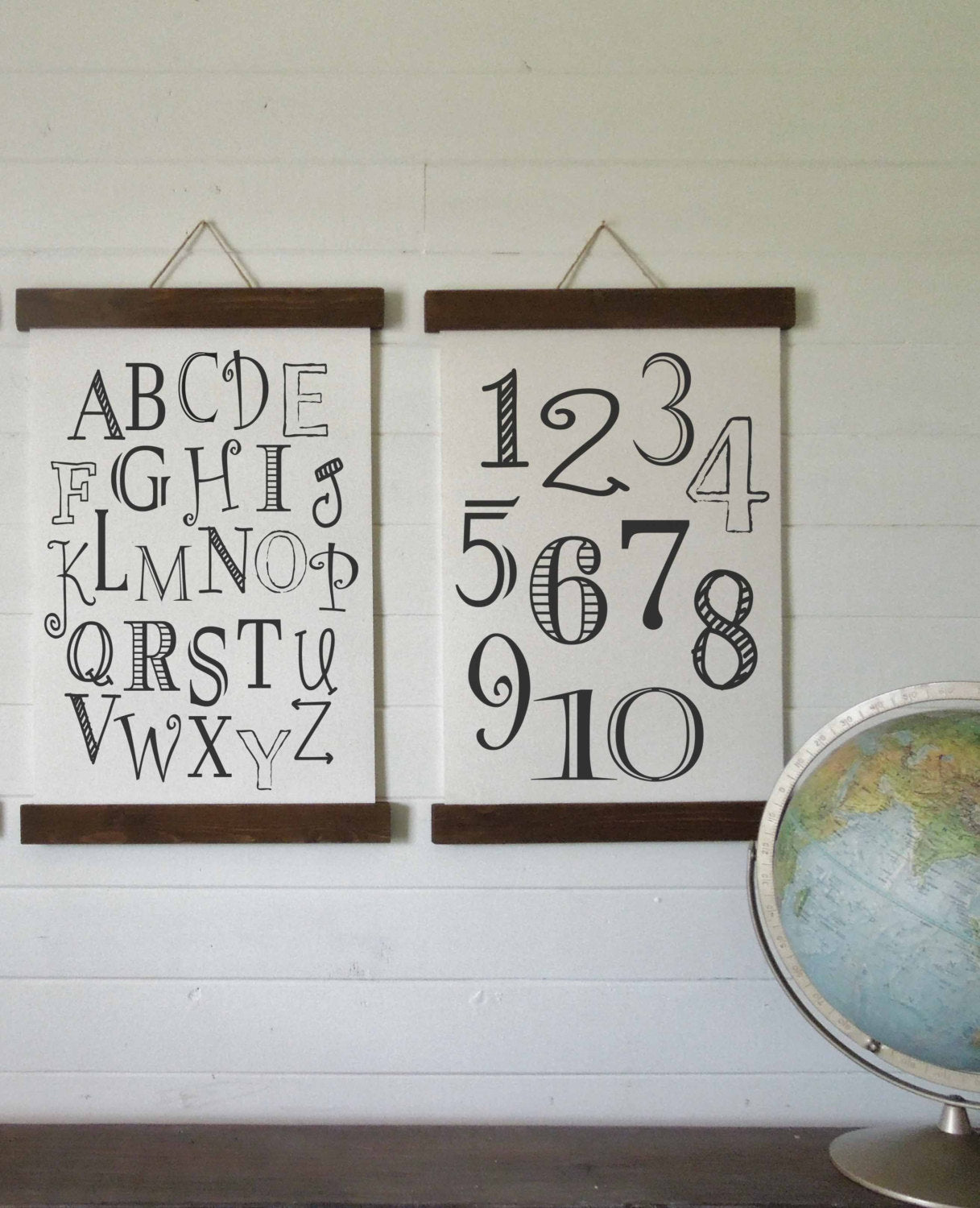 Alphabet number wall art/nursery decort/canvas art print/wood sign/canvas print/wall decor/set of 2/wall art