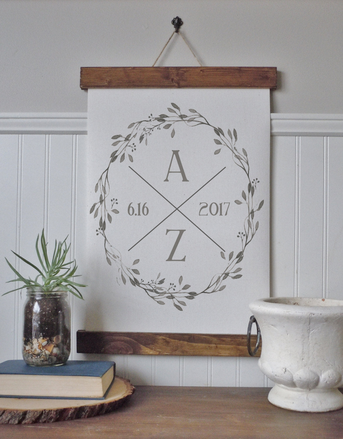 Custom initials with wreath/est. date/wall art/canvas print/anniversary date/wedding date/canvas wall art