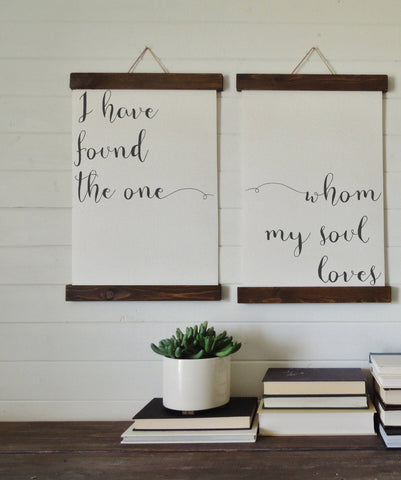 I have found the one whom my soul loves/canvas art print/wood sign/canvas print/wall decor/set of 2/wall art