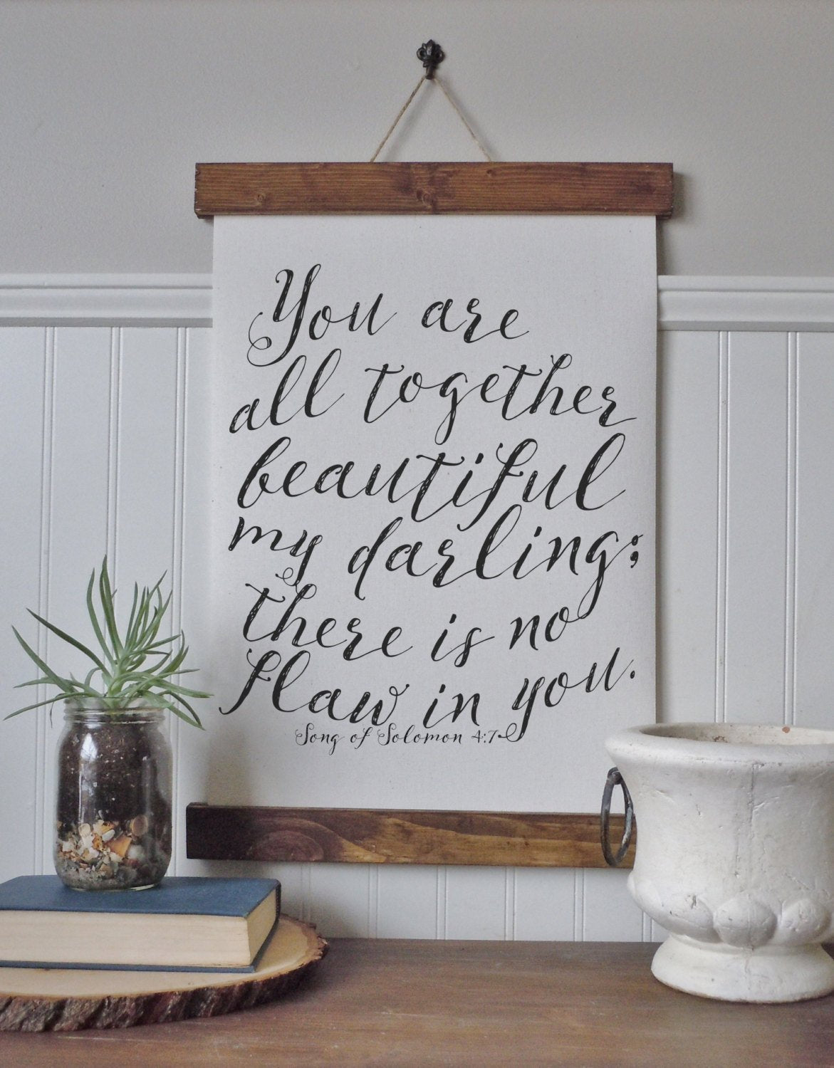 You are all together beautiful, my darling/there is no flaw in you/canvas print/calligraphy sign//framed art/home decor/wall art
