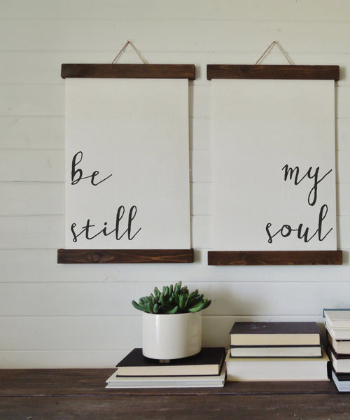 be still my soul/calligraphy wall art/canvas art print/wood sign/canvas print/wall decor/set of 2/wall art