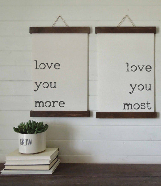 love you more, love you most/canvas art print/wood sign/canvas print/wall decor/set of 2/wall art