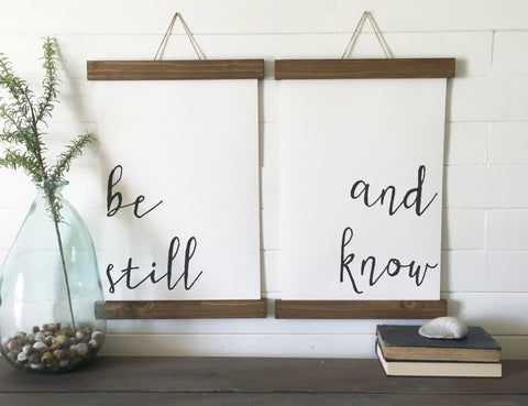 be still and know/calligraphy wall art/canvas art print/wood sign/canvas print/wall decor/set of 2/wall art