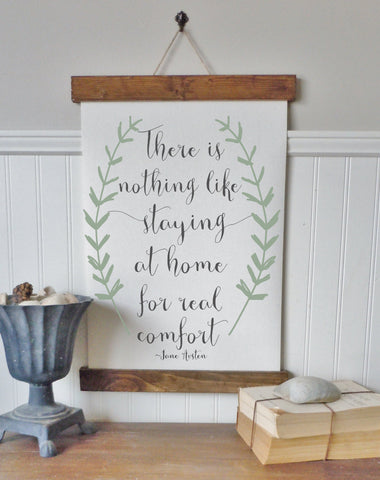 There's nothing like staying at home for real comfort/wall art/canvas print/laurel wreath/canvas wall art/wall decor