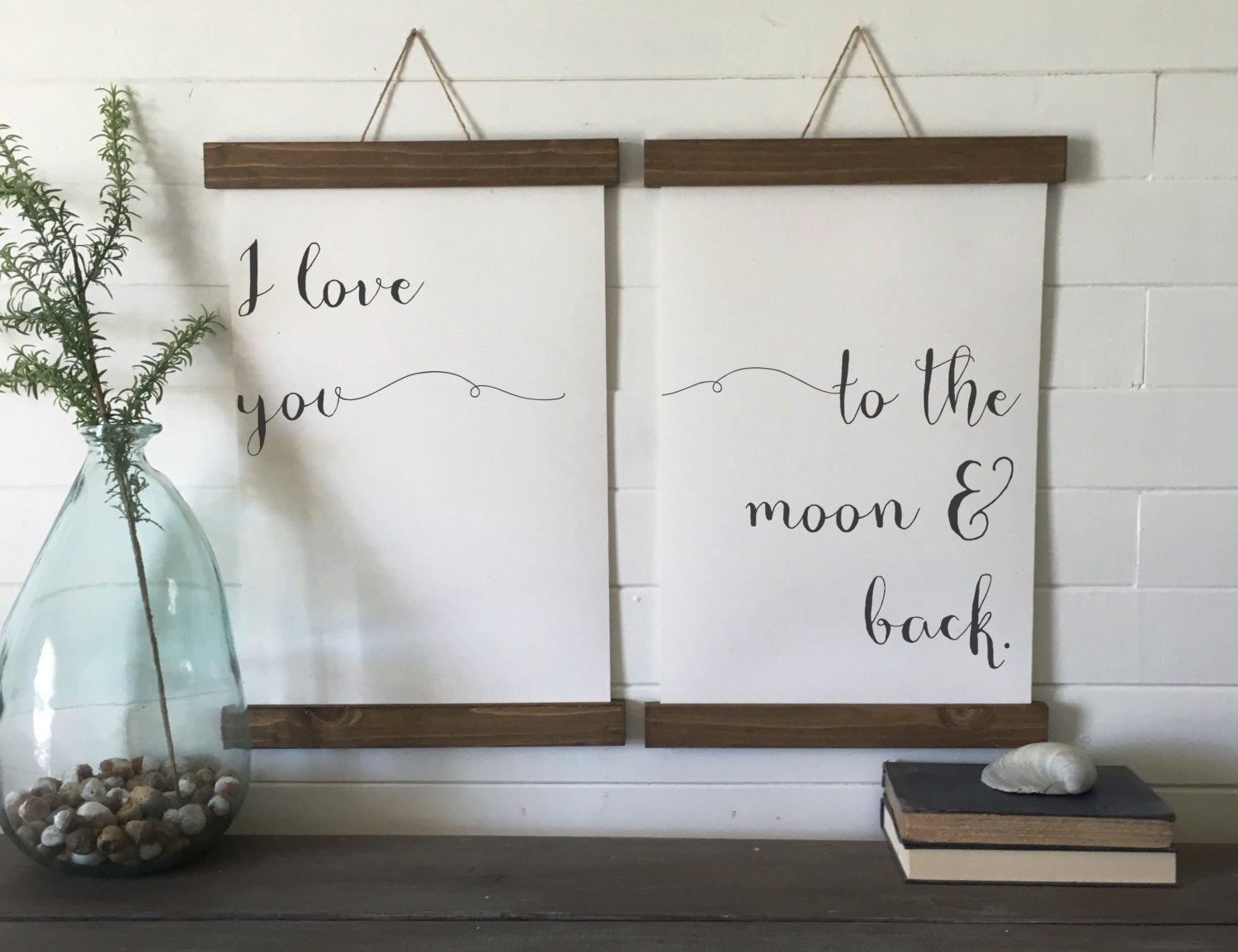I love you to the moon and back/canvas art print/wood sign/canvas print/wall decor/set of 2/wall art