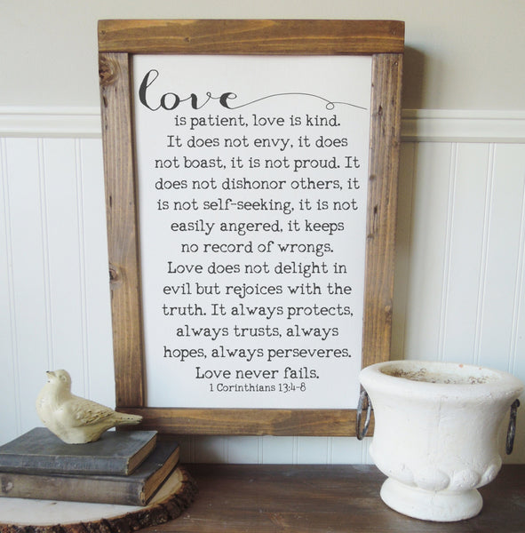 1 Corinthians 13:4-8/love is patient kind/canvas art print/wall art/canvas print/wall decor