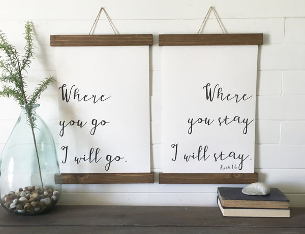Where you go I will go/calligraphy wall art/canvas art print/wood sign/canvas print/wall decor/set of 2/wall art