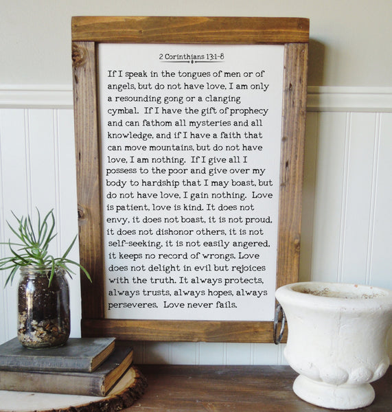 1 Corinthians 13:1-8/love is patient kind/canvas art print/wall art/canvas print/wall decor
