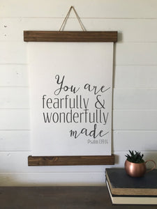 You are fearfully and wonderfully made/Psalm 139:14/canvas art print/wall decor/home decor