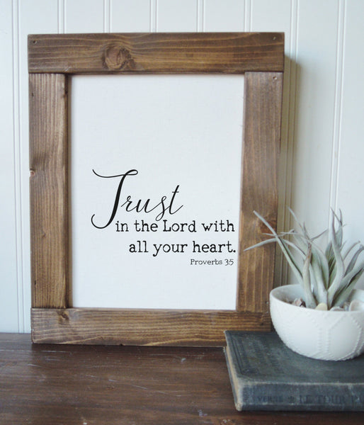 Trust in the lord with all your heart/proverbs 3:5/canvas art print/calligraphy sign/wall art/canvas print/wall decor/home decor