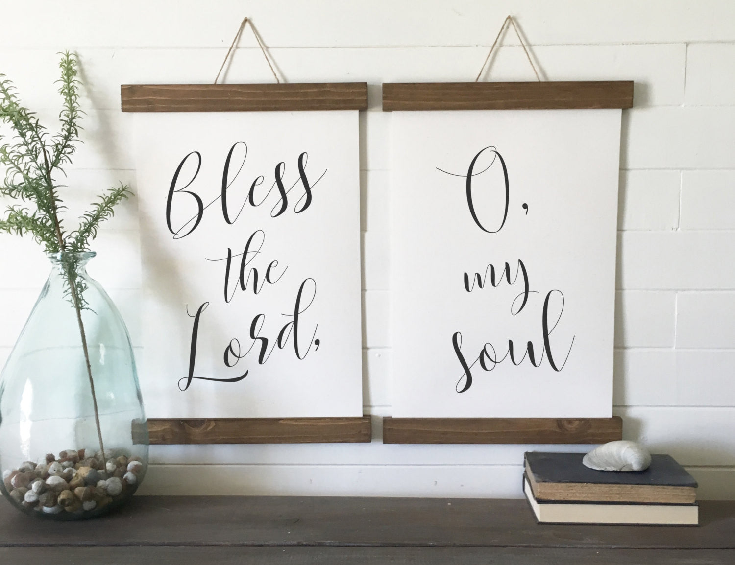 Bless the lord, O my soul,/calligraphy wall art/canvas art print/wood sign/canvas print/wall decor/set of 2/wall art