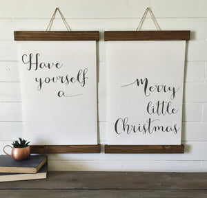 Christmas decor/Have yourself a merry little christmas/calligraphy wall art/canvas art print/canvas print/wall decor/set of 2/wall art