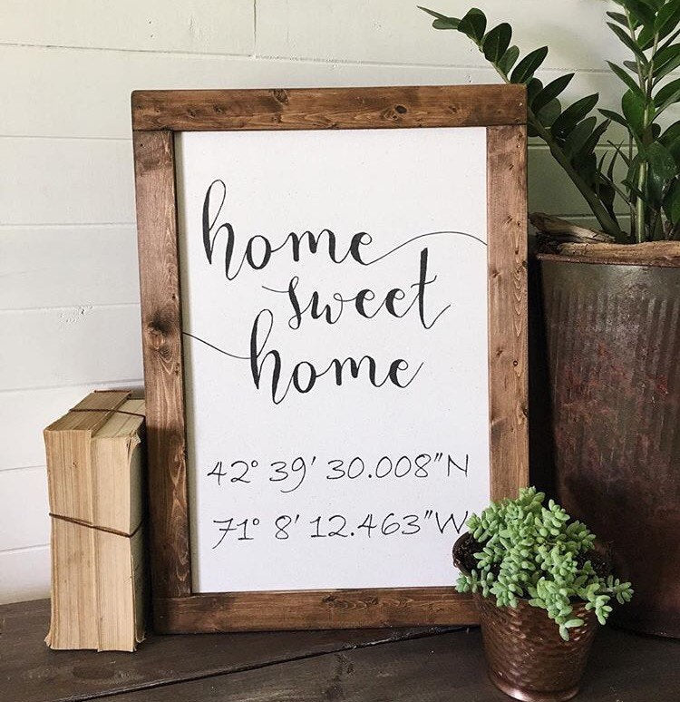 Coordinates sign/home sweet home/calligraphy sign/canvas ...