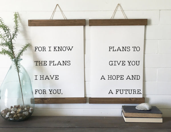 for I know the plans I have for you/Jeremiah 29:11/canvas art print/wood sign/canvas print/wall decor/set of 2/wall art
