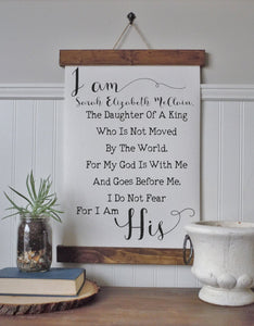 I am the daughter of a king/personalized/I am His/canvas art print/wall art/canvas print/wall decor