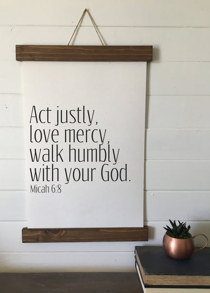 act justly, love mercy, walk humbly/Micah 6:8/wall art/canvas print/canvas wall art/wall decor
