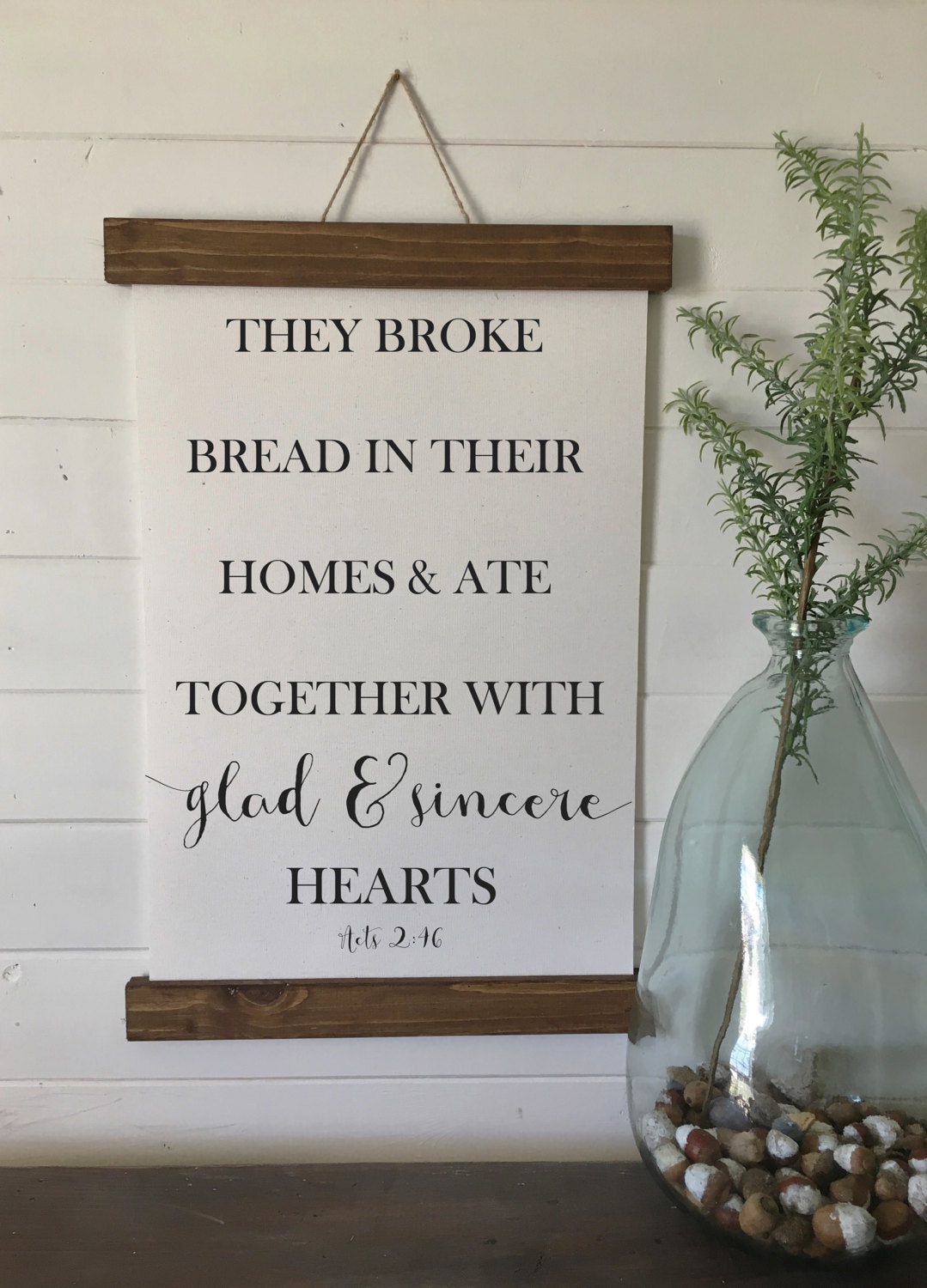 They broke bread in their home and ate together with glad and sincere hearts/Acts 2:46/canvas art print/wall art/canvas print/wall decor