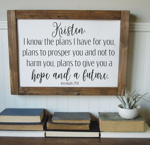 I know the plans I have for you/personalized/Jeremiah 29:11/wall art/canvas print/canvas wall art/wall decor