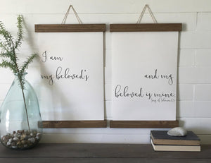 I am my beloveds and he is mine/song of solomon 6:3/calligraphy wall art/canvas art print/wood sign/wall decor/set of 2/wall art