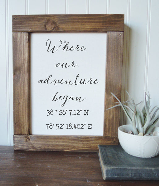 Coordinates sign/where our adventure begins/calligraphy sign/canvas print/framed art/wall art/wood sign