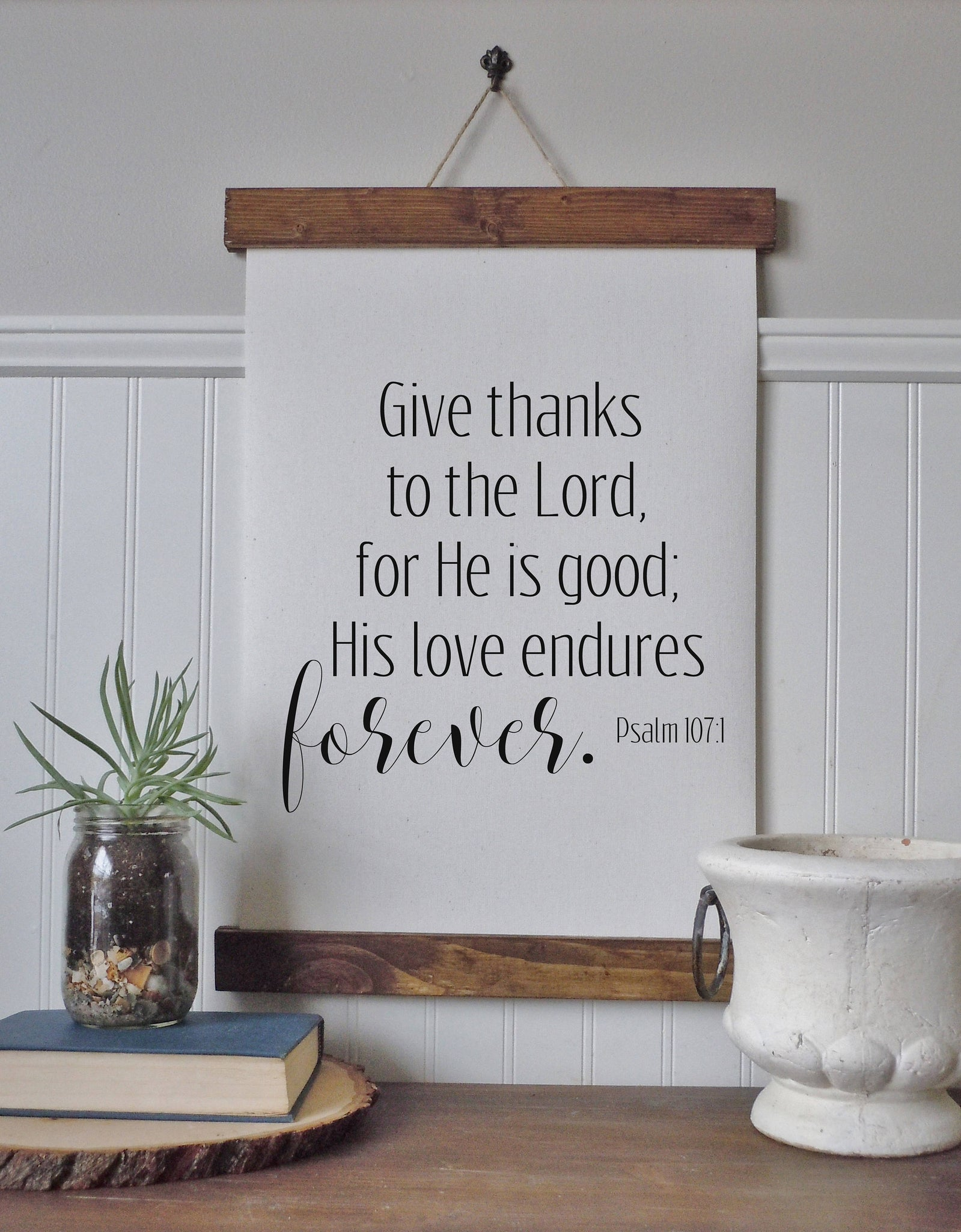 Give thanks to the Lord/bible verse/thanksgving art/fall art/canvas print/framed art/wall art/wood sign/fall art