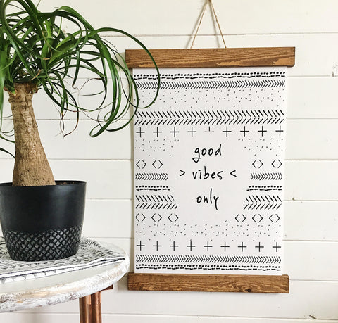 Good vibes only/mud cloth tribal designs/canvas art print/wall decor/home decor