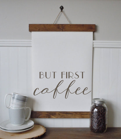 but first coffee/coffee bar/calligraphy wall art/canvas print/canvas wall art