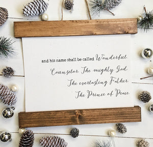 Christmas art/For unto us/Isaiah 9:6/christmas decor/christmas wall art/wall art/vintage art/farmhouse art