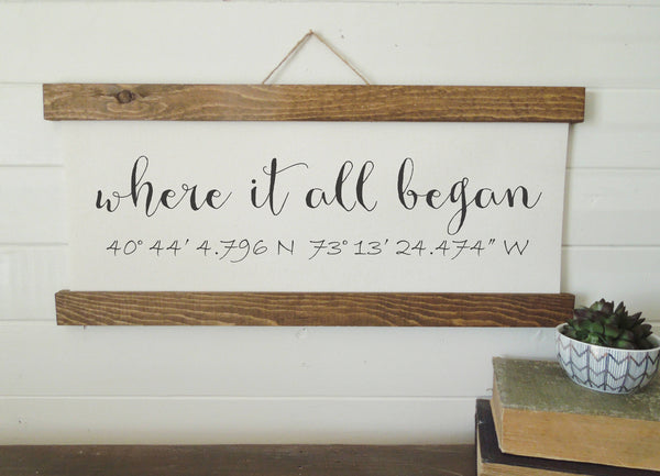 Coordinates sign/where it all began/calligraphy sign/canvas print/framed art/picture frame/tabletop sign/home decor/wall art