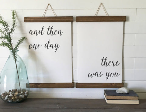 and then one day there was you/valentines day/calligraphy wall art/canvas art print/wood sign/canvas print/wall decor/set of 2/wall art