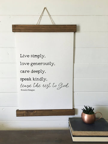 live simply/ronald reagan/wall art/home decor/canvas art